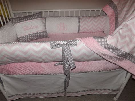 light pink and gray bedding baby bedding crib set with light pink and gray chevron