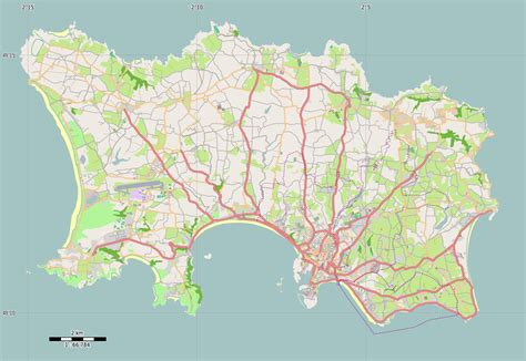 large road map  jersey island jersey europe