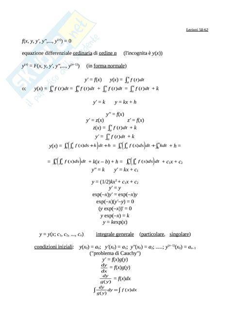 dispense matematica generale cosa sono le equazioni differenziali ordinarie