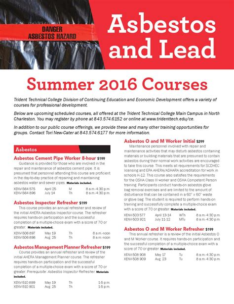 asbestos  lead summer  flier  trident technical