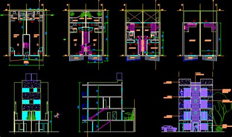 storeys duplex house dwg section  autocad designs cad