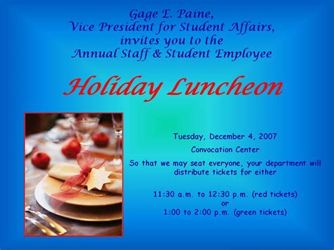 employee holiday luncheon invitation template staff news