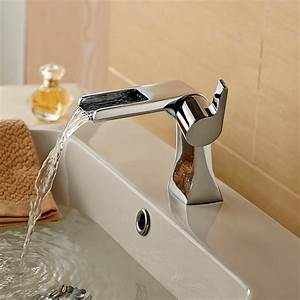 Unique, Basin, Faucets, Modern, Waterfall, Faucet, Hot, And, Cold, Chrome, Brass, Bathroom, Mixer, Tap, Single