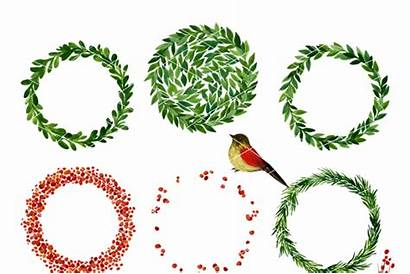 Wreath Christmas Clipart Mistletoe Watercolor Holiday Thehungryjpeg