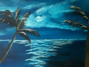 "16x20 Oil Painting #10813 ""Moon Light Night In Paradise ..."