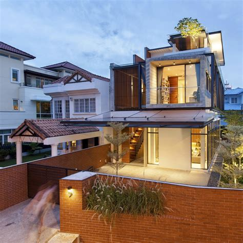 singapore house design clever semi detached house with elongated volumes in singapore freshome com