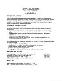summary for resume for management position simple resume exles professional marketing management professional summary resume sle