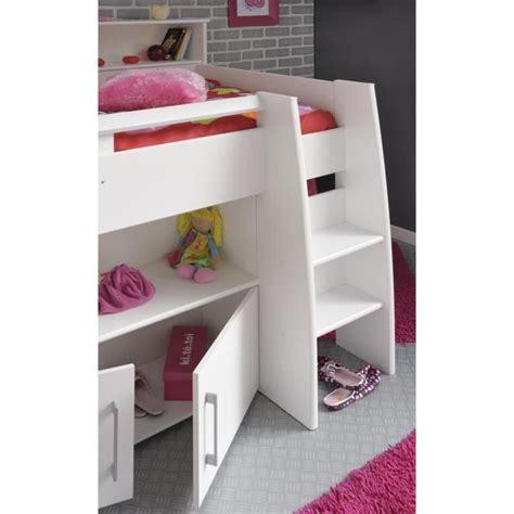 combine lit bureau dave lit combiné 90cm bureau rangement blanc achat