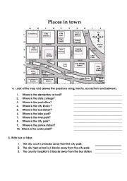 english worksheet prepositions  place places  town