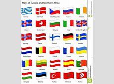 Bandeiras De Europa estilo Ondulado Ilustração Stock