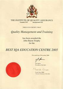 Sample Of Certificate Of Achievement Qm T Quality Management And Training Awards