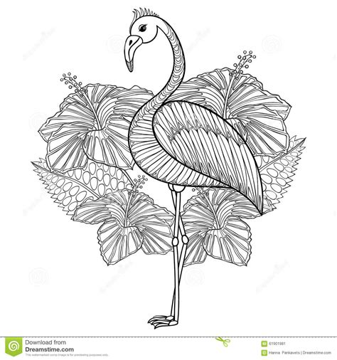 coloring page  flamingo  hibiskus stock vector