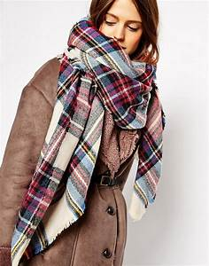 asos asos oversized square scarf in check With echarpe plaid carreaux