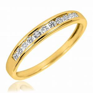 7 8 carat tw diamond his and hers wedding rings 10k With gold wedding rings with diamonds