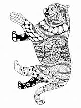 Coloring Pages Tiger Zentangle Adults Adult Printable Mycoloring sketch template