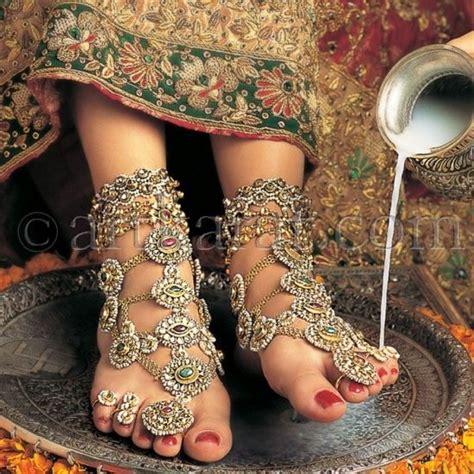 Gold Plated Princess Style Bridal Anklet With Multi Color