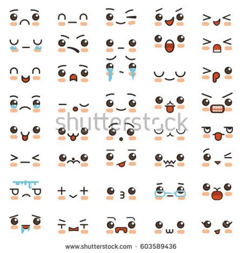 doddle cat kawaii smile emoticons japanese anime stock vector