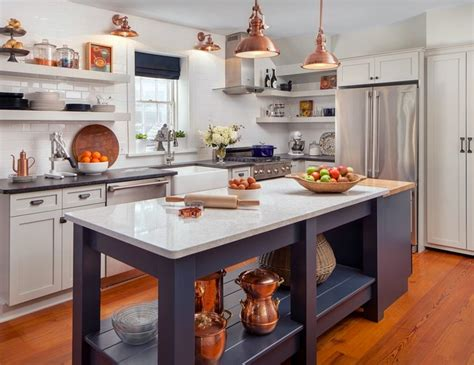 White Kitchen With Copper And Navy Blue Accents