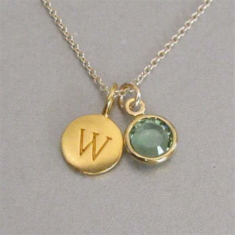 gold initial birthstone charm necklace