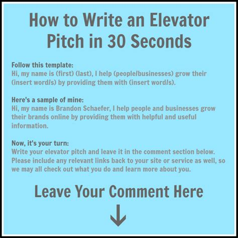 write your elevator pitch and it with everyone in 30