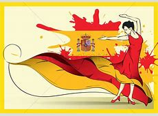 Spain flag with flamenco dancer Vector Image 1571297