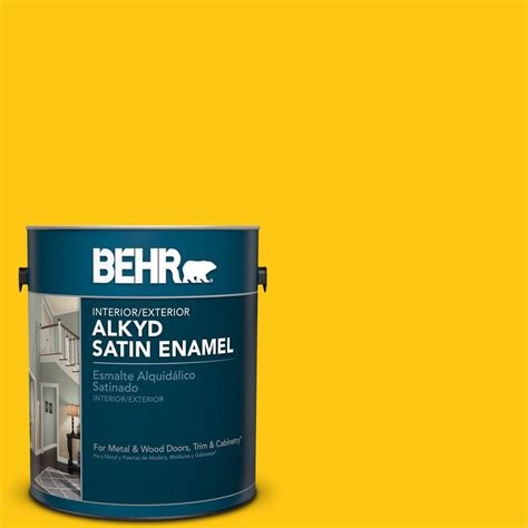 behr 1 gal p300 7 unmellow yellow satin enamel alkyd interior exterior paint 793001 the home