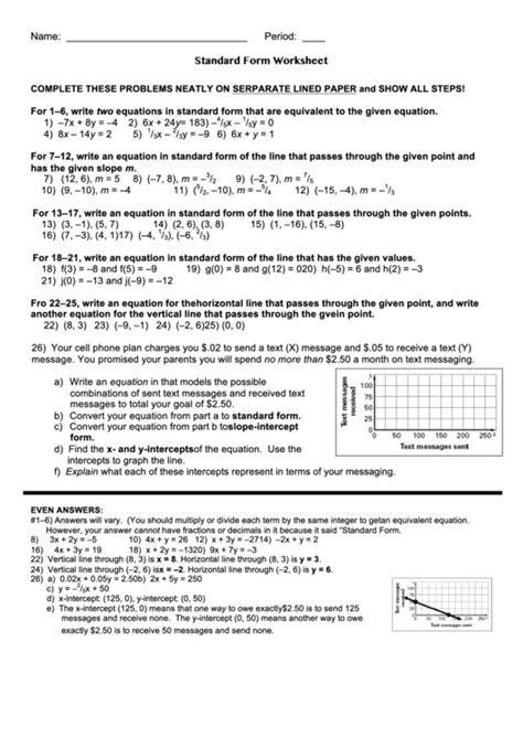 Standard Form Worksheet printable pdf download