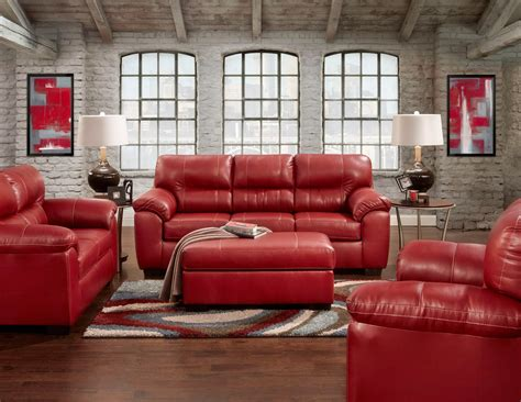 Austin Red Sofa And Loveseat