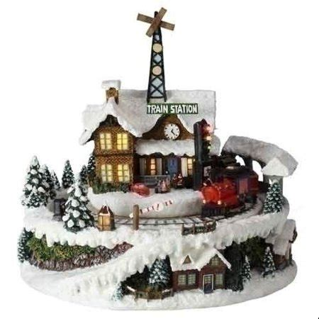 animated christmas village with train 8 5 quot amusements battery operated musical and animated led lighted station