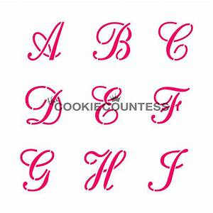 alphabet script set cookie stencil the cookie countess With letter cookie stencils