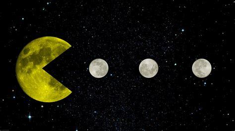 Wallpaper For Dual Monitors Pac Man Yellow Space Moon Moon Stars Black Retro Games Creative Design Infinity
