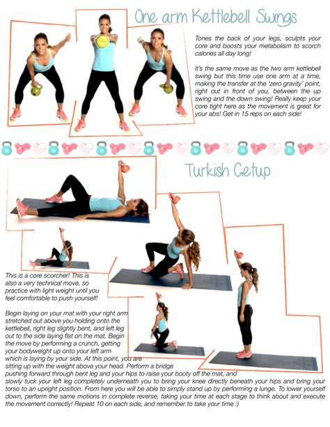 kettlebell workouts printable turkish arm workout getup routines swings schedule fitness exercises kettlebells tone swing abs training exercise kettle arms