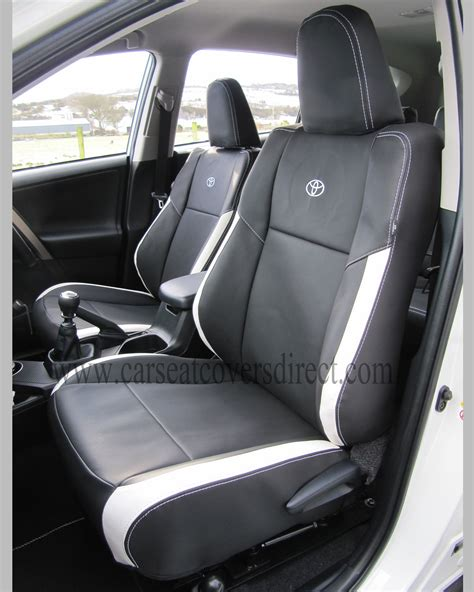 toyota rav seat covers black white leatherette