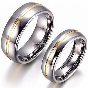 1 piece mens womens couple gold inset tungsten carbide for Tungsten wedding ring reviews