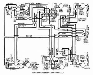 Lincoln  Except Continental  1957 Windows Wiring Diagram