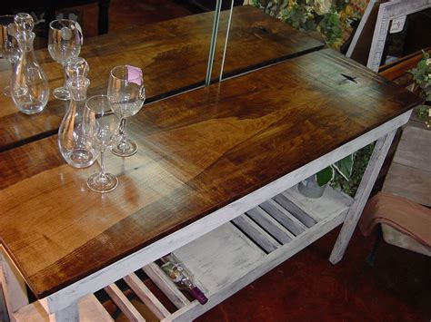 Single Plank Hardwood Top Wine Bar Buffet Table Just
