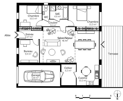 maison plain pied 5 chambres délicieux plan de maison 5 chambres 2 plan maison