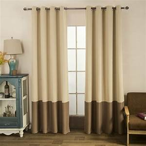 Taupe Brown Two Tone Color Block Modern Farmhouse Curtains