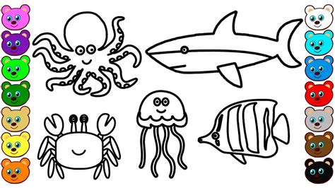 coloring  kids  sea animals coloring book