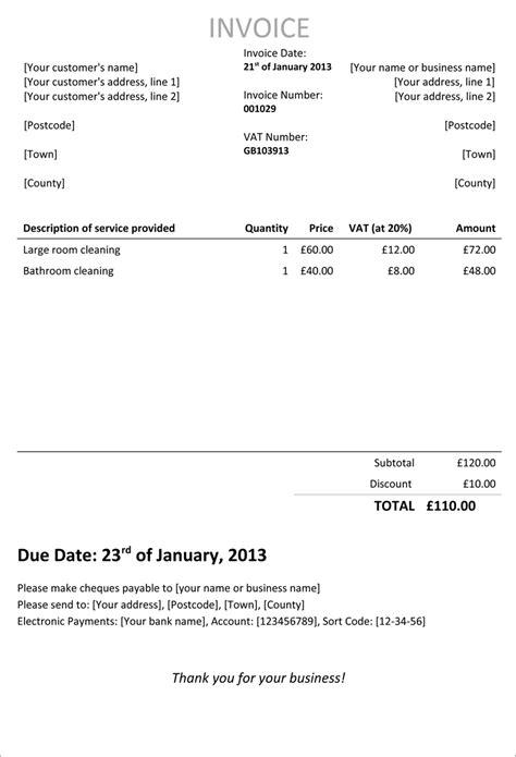 standard invoice template uk invoice