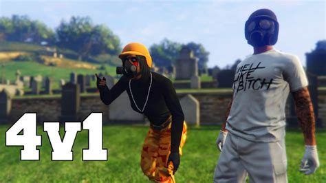 Tryhard Girl And Crew Jump Me 4v1 Gta 5 Online Youtube