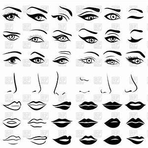 Set Of Eyes  Noses And Lips Vector Image  U2013 Vector Artwork Of People  U00a9 Natareal  179266  U2013 Rfclipart