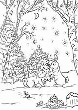 Coloring Pages Winter Forest Solstice Nature Print sketch template