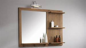 miroir salle de bain avec tablette With miroir avec étagère salle de bain