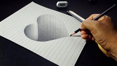 How To Draw A 3d Hole Heart Shape