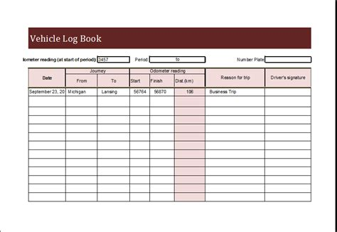 Vehicle Log Book Template For Ms Excel