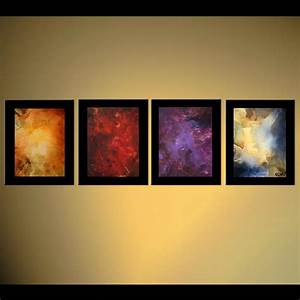 Abstract painting - four elements border planets galaxy ...