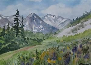 Original Watercolor - Colorado Mountains And Flowers
