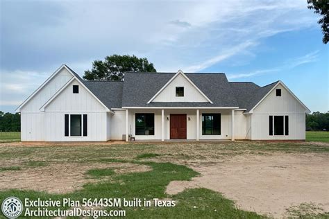Plan 56443SM: Exclusive Modern Farmhouse with Split Beds