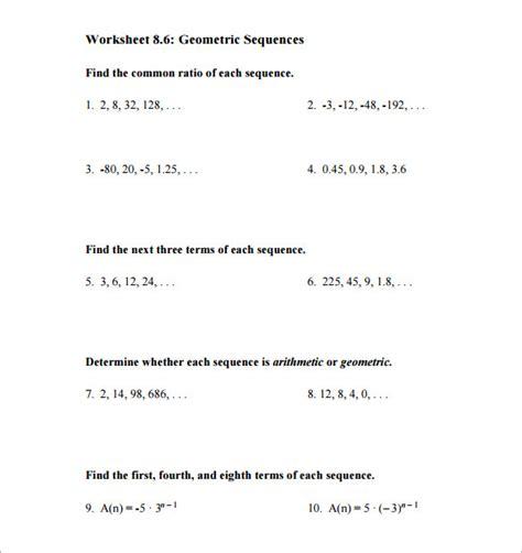 9 geometric sequence exles doc excel pdf free